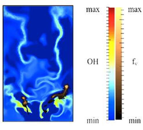 """Instantaneous field of OH and soot distributions obtained by a numerical simulation of the Geigle et al. experiment"""